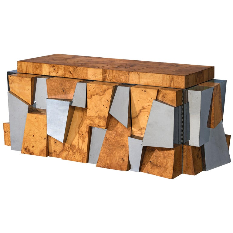 Paul Evans 'Faceted' Wall Sideboard in Chrome and Burl For Sale