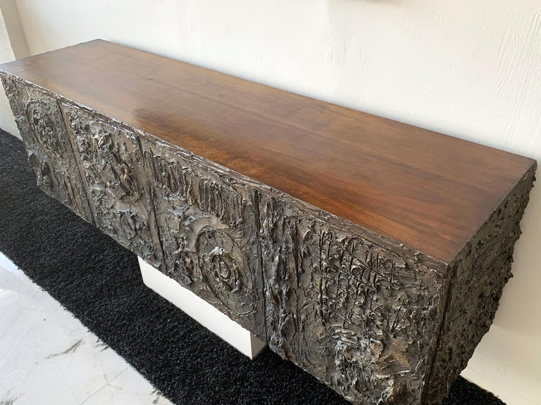 Late 20th Century Paul Evans Floating Cast Bronze Credenza For Sale