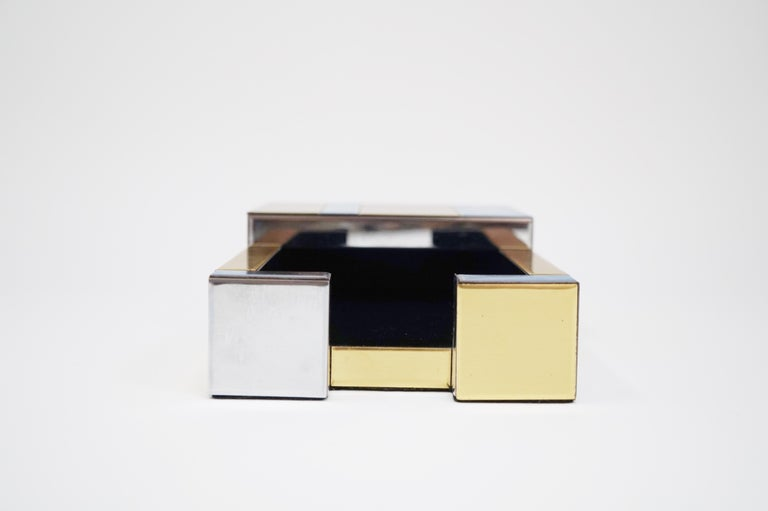 Paul Evans for Directional Brass and Chrome Cityscape Desk Elements, circa 1970s For Sale 8