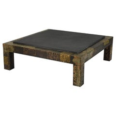 Paul Evans for Directional Brutalist Patchwork Metal Large Coffee Table