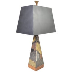 Paul Evans for Directional Brutalist Welded Patchwork Table Lamp, circa 1960