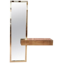 Paul Evans for Directional Cityscape Brass Mirror and Floating Console Table