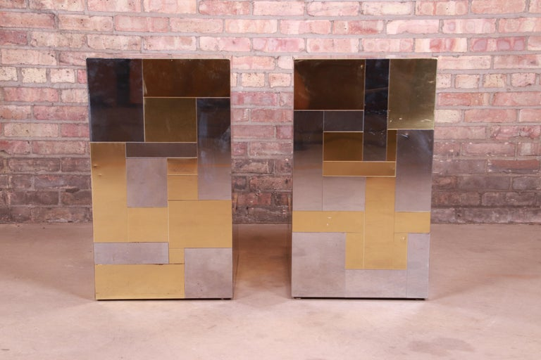 Paul Evans for Directional Cityscape Chrome and Brass Dining Table, 1970s For Sale 4