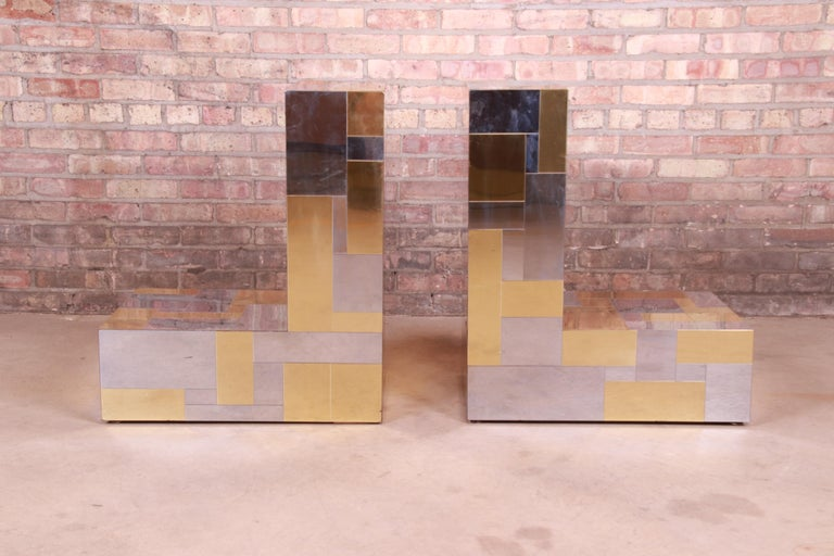 Paul Evans for Directional Cityscape Chrome and Brass Dining Table, 1970s For Sale 5