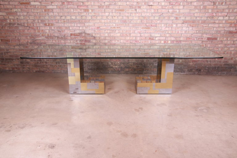 A rare and beautiful Mid-Century Modern Hollywood Regency double pedestal dining table  By Paul Evans for Directional,