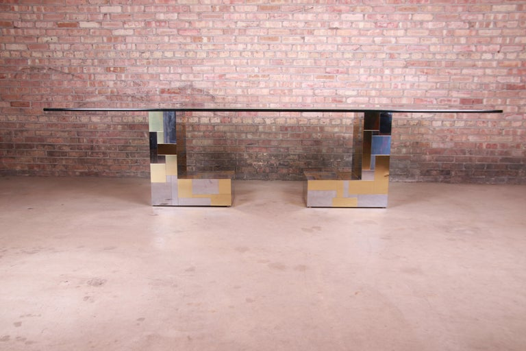 Mid-Century Modern Paul Evans for Directional Cityscape Chrome and Brass Dining Table, 1970s For Sale