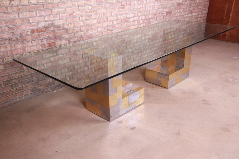 American Paul Evans for Directional Cityscape Chrome and Brass Dining Table, 1970s For Sale