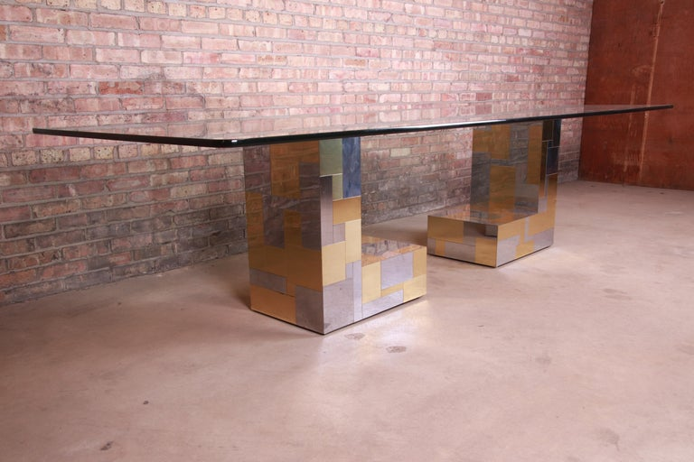 Paul Evans for Directional Cityscape Chrome and Brass Dining Table, 1970s In Good Condition For Sale In South Bend, IN