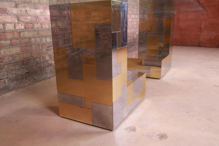 Late 20th Century Paul Evans for Directional Cityscape Chrome and Brass Dining Table, 1970s For Sale