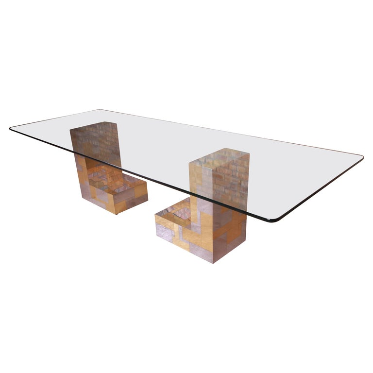 Paul Evans for Directional Cityscape Chrome and Brass Dining Table, 1970s For Sale