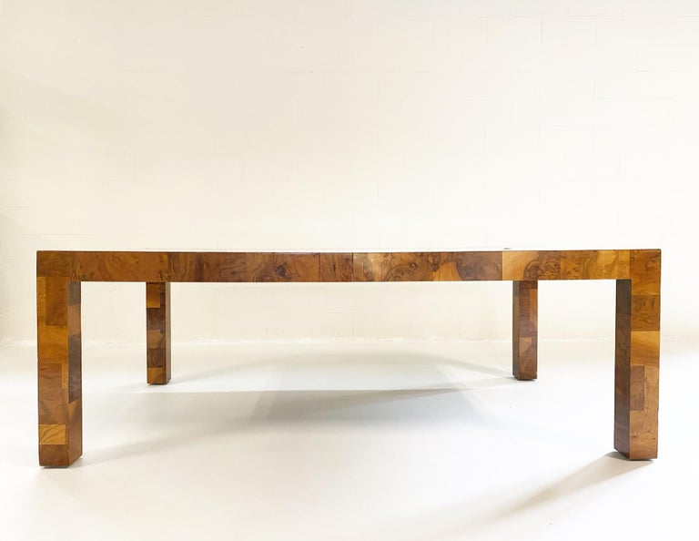 Mid-Century Modern Paul Evans for Directional Cityscape Patchwork Burl Wood Dining Table