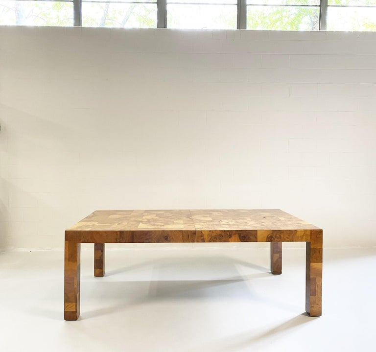 American Paul Evans for Directional Cityscape Patchwork Burl Wood Dining Table