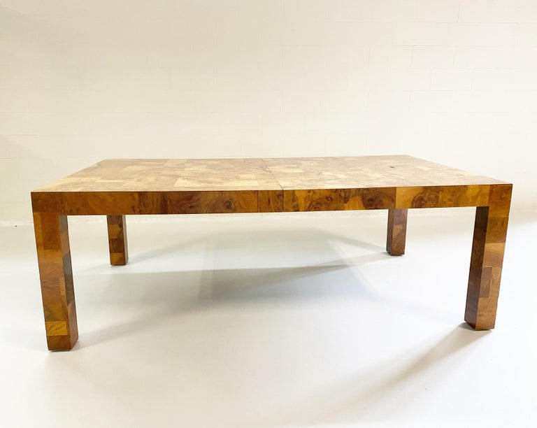 Paul Evans for Directional Cityscape Patchwork Burl Wood Dining Table In Good Condition In SAINT LOUIS, MO