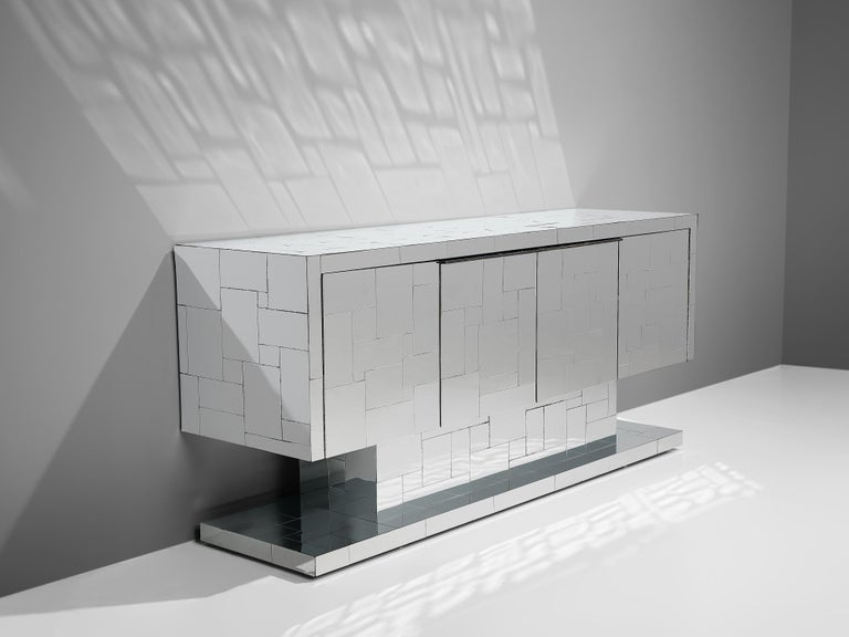 Late 20th Century Paul Evans for Directional Cityscape Sideboard in Chrome For Sale