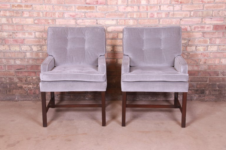 Mid-Century Modern Paul Evans for Directional Club Chairs in Velvet, Pair For Sale