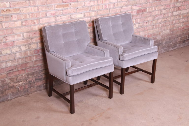 American Paul Evans for Directional Club Chairs in Velvet, Pair For Sale