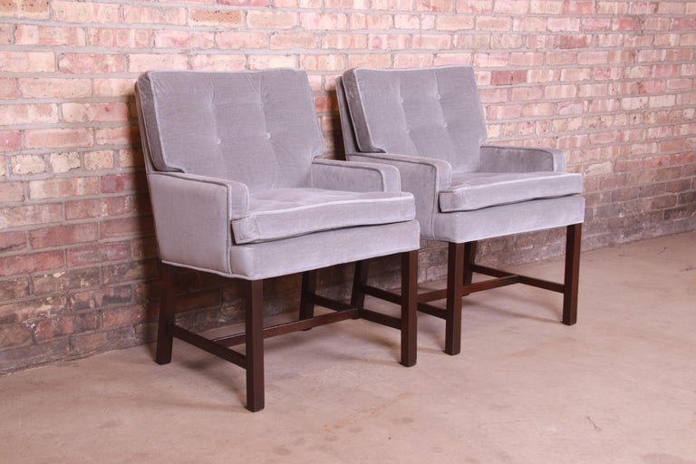 Paul Evans for Directional Club Chairs in Velvet, Pair In Good Condition For Sale In South Bend, IN