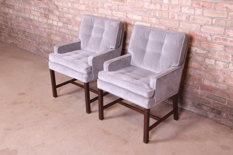 Mid-20th Century Paul Evans for Directional Club Chairs in Velvet, Pair For Sale