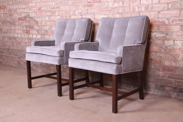 Paul Evans for Directional Club Chairs in Velvet, Pair For Sale 1
