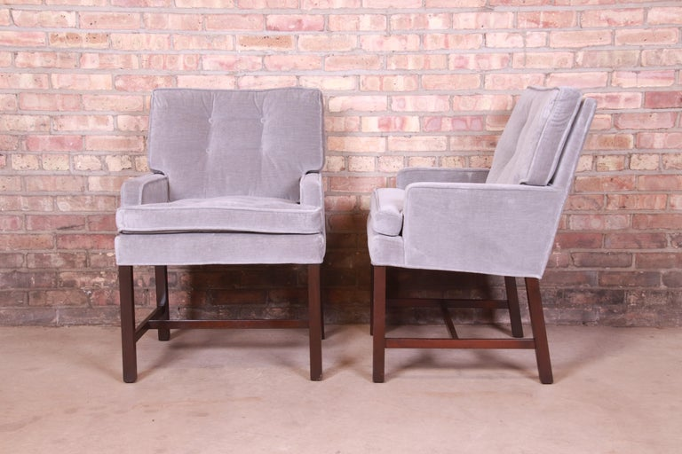 Paul Evans for Directional Club Chairs in Velvet, Pair For Sale 2