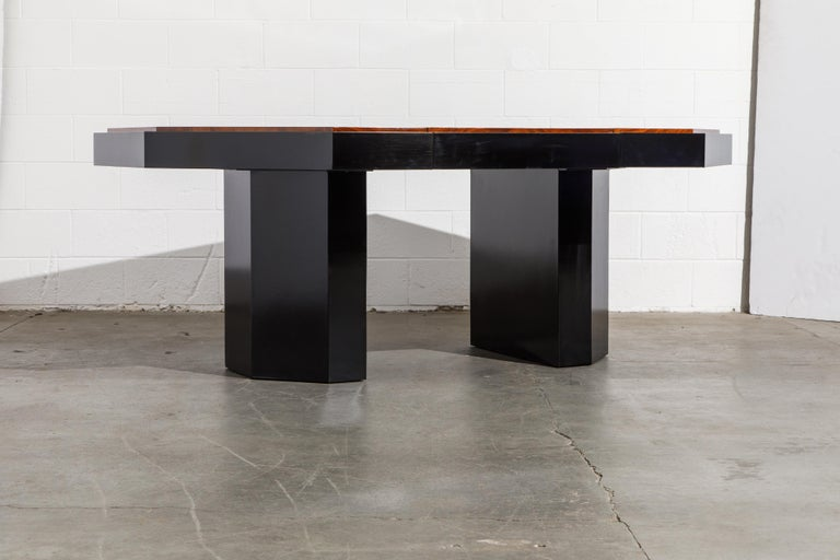 Paul Evans for Directional Expandable African Burl Mahogany Dining Table, c 1980 For Sale 3