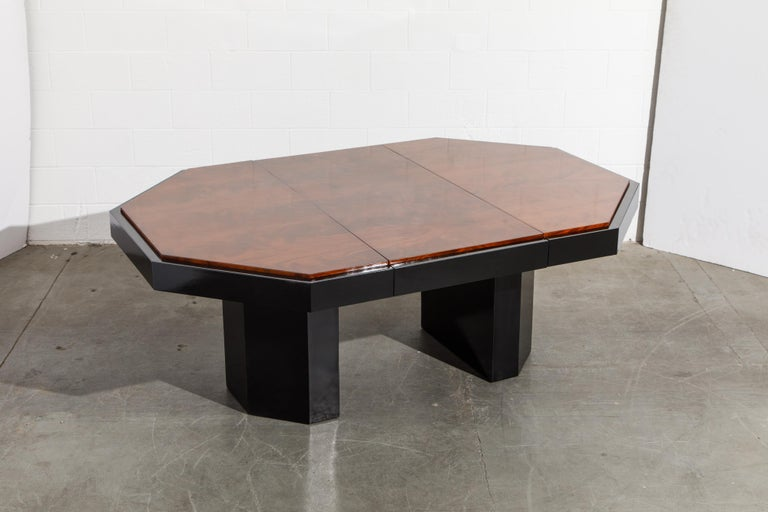 Paul Evans for Directional Expandable African Burl Mahogany Dining Table, c 1980 For Sale 4