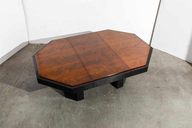 Paul Evans for Directional Expandable African Burl Mahogany Dining Table, c 1980 For Sale 5