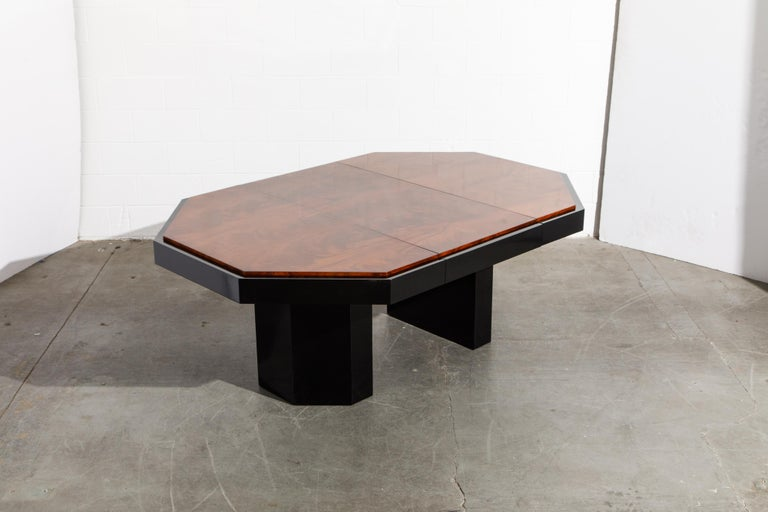 Paul Evans for Directional Expandable African Burl Mahogany Dining Table, c 1980 For Sale 7