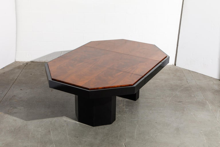 Paul Evans for Directional Expandable African Burl Mahogany Dining Table, c 1980 For Sale 9