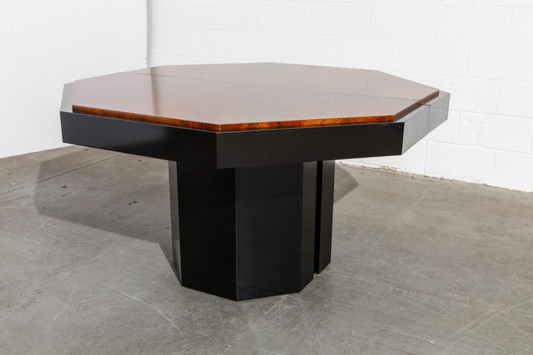 Paul Evans for Directional Expandable African Burl Mahogany Dining Table, c 1980 For Sale 11