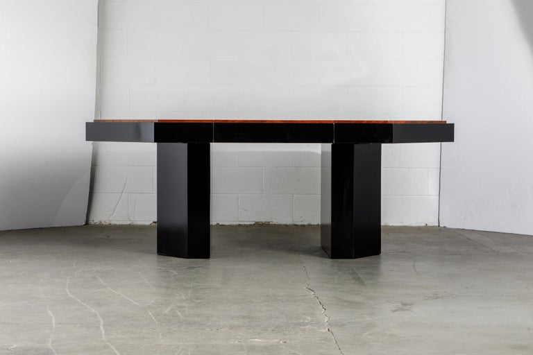 A stunning Model PE-411 Paul Evans double expandable pedestal dining table (also works excellent as a game table or center table) for Directional in the early 1980s. This particular table was previously authenticated by Dorsey Reading who worked