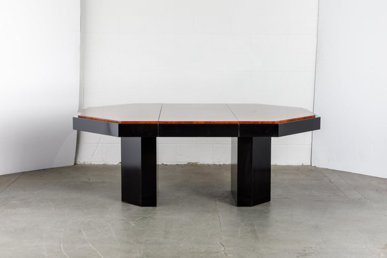 Modern Paul Evans for Directional Expandable African Burl Mahogany Dining Table, c 1980 For Sale