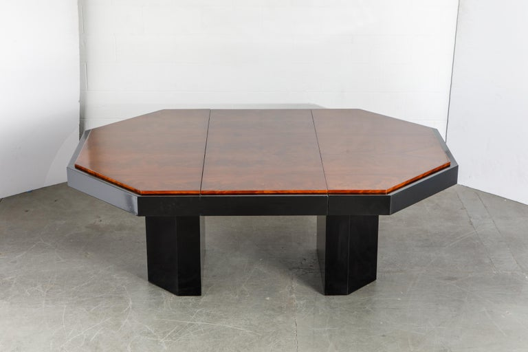 American Paul Evans for Directional Expandable African Burl Mahogany Dining Table, c 1980 For Sale