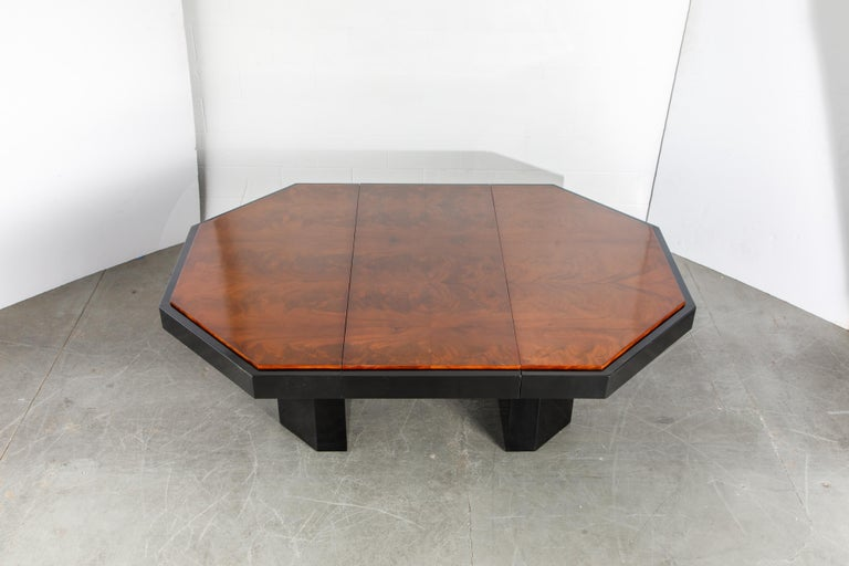Lacquered Paul Evans for Directional Expandable African Burl Mahogany Dining Table, c 1980 For Sale