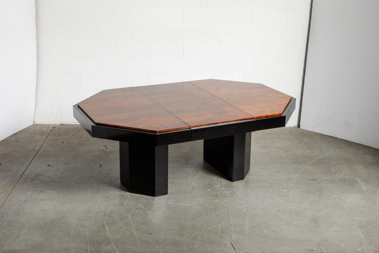 Late 20th Century Paul Evans for Directional Expandable African Burl Mahogany Dining Table, c 1980 For Sale