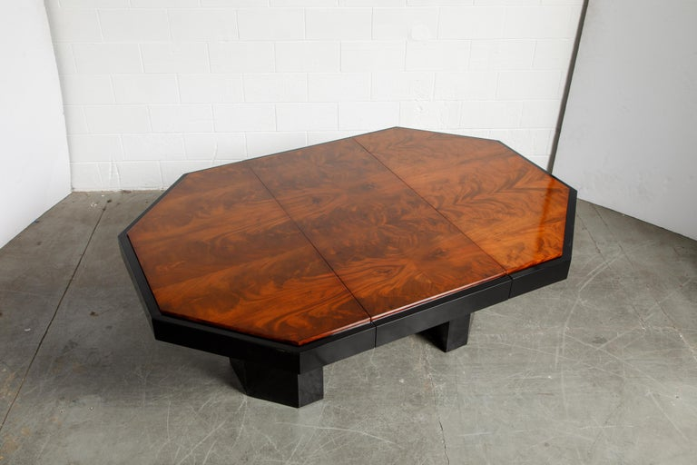 Paul Evans for Directional Expandable African Burl Mahogany Dining Table, c 1980 For Sale 1