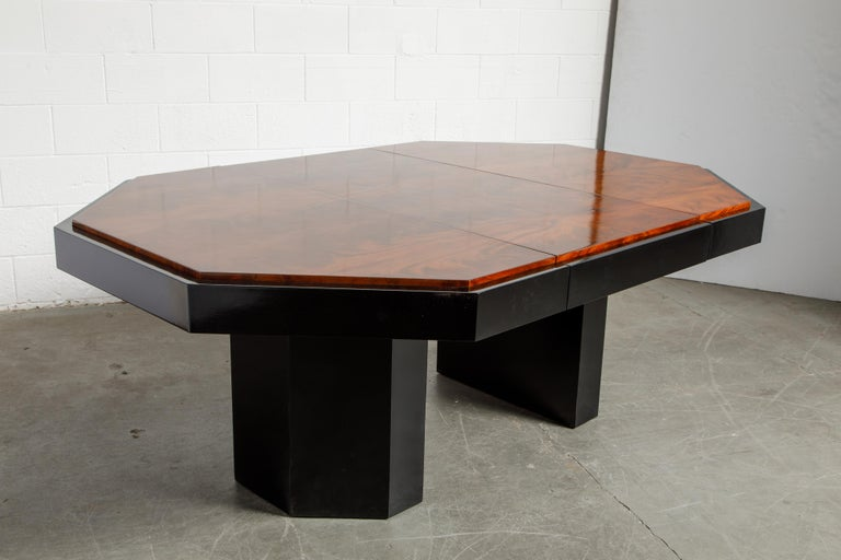 Paul Evans for Directional Expandable African Burl Mahogany Dining Table, c 1980 For Sale 2