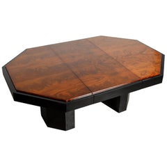Paul Evans for Directional Expandable African Burl Mahogany Dining Table, c 1980