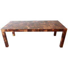 Paul Evans for Directional Patchwork Burl Wood Parsons Extension Dining Table