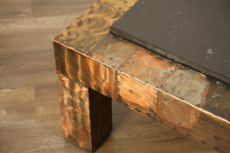 Paul Evans for Directional Patchwork Copper Coffee Table with Slate Top, 1970s For Sale 4