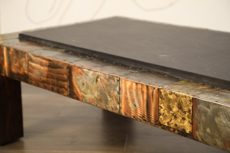Paul Evans for Directional Patchwork Copper Coffee Table with Slate Top, 1970s For Sale 5