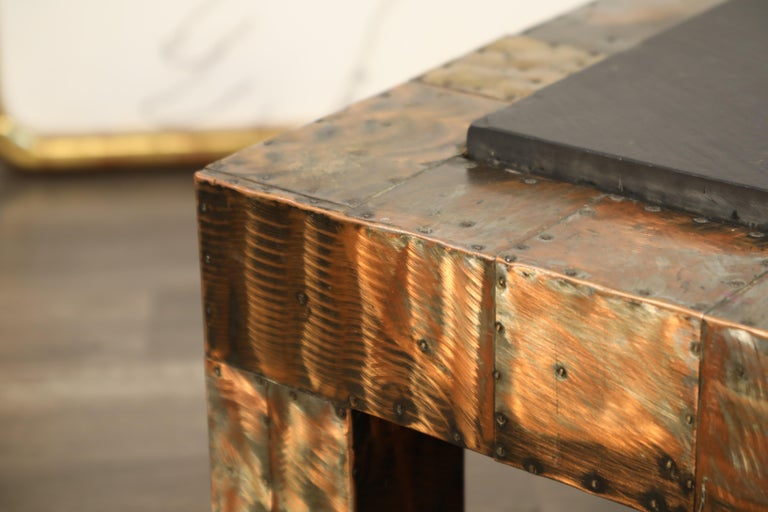 Paul Evans for Directional Patchwork Copper Coffee Table with Slate Top, 1970s For Sale 8