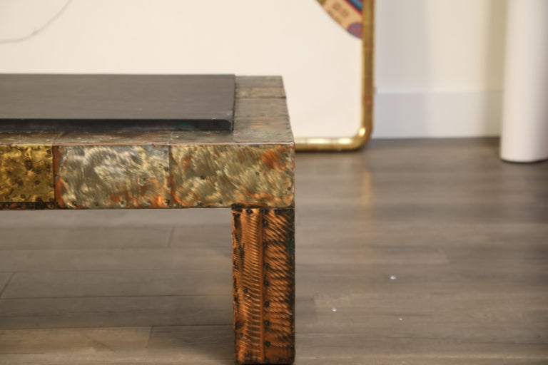 Paul Evans for Directional Patchwork Copper Coffee Table with Slate Top, 1970s For Sale 9