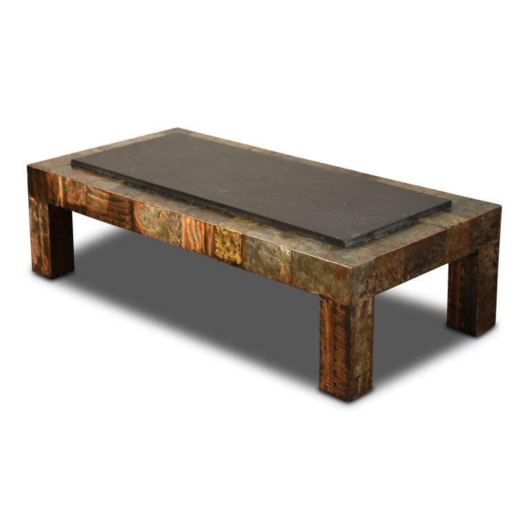 Brutalist Paul Evans for Directional Patchwork Copper Coffee Table with Slate Top, 1970s For Sale
