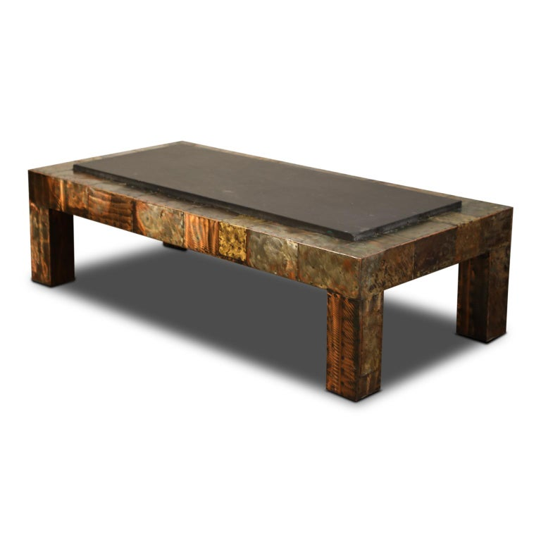American Paul Evans for Directional Patchwork Copper Coffee Table with Slate Top, 1970s For Sale