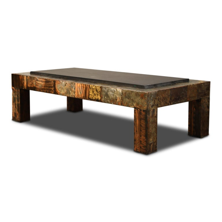 Paul Evans for Directional Patchwork Copper Coffee Table with Slate Top, 1970s In Good Condition For Sale In Los Angeles, CA
