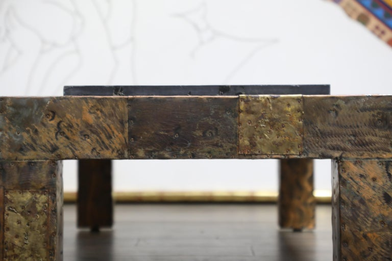 Paul Evans for Directional Patchwork Copper Coffee Table with Slate Top, 1970s For Sale 2