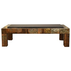 Paul Evans for Directional Patchwork Copper Coffee Table with Slate Top, 1970s