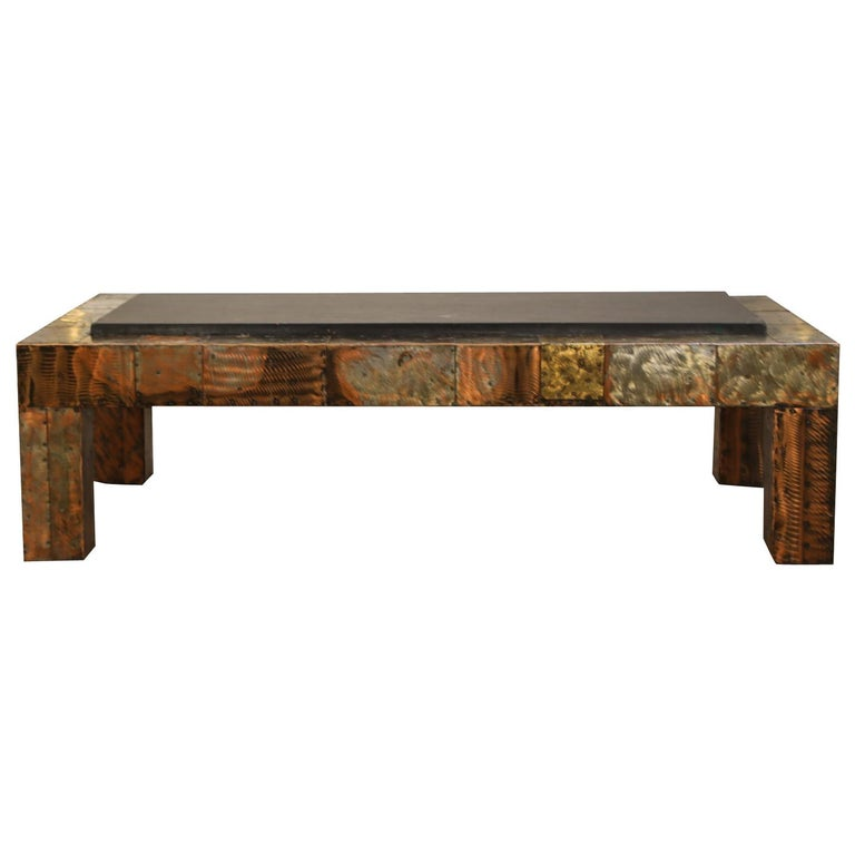 Paul Evans for Directional Patchwork Copper Coffee Table with Slate Top, 1970s For Sale