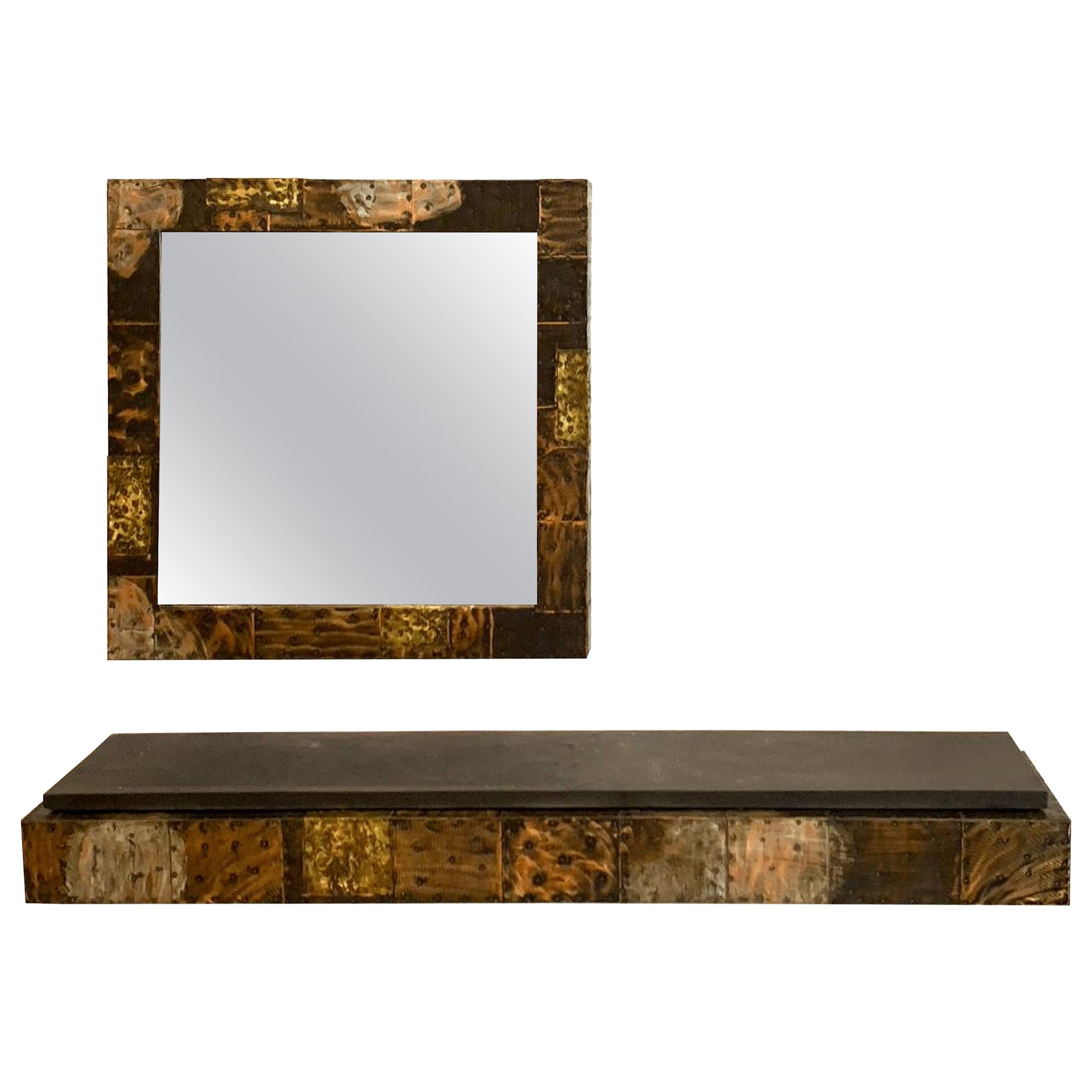 Paul Evans for Directional, Patchwork Mirror and Console